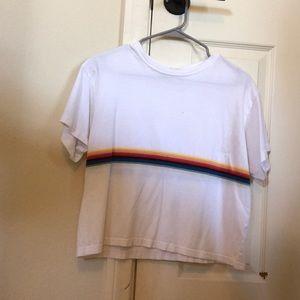 Brandy Melville white rainbow short sleeve